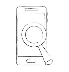 smartphone device with magnifying glass vector image