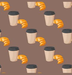 Sweet delicious croissant coffee cup morning vector