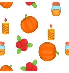 Thanksgiving day elements pattern cartoon style vector image