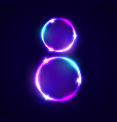 Two neon glowing circles decoration for women day vector