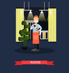 Waiter with wine bottle in vector