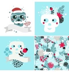 Winter skulls set vector