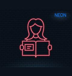 woman read a book line icon education symbol vector image vector image