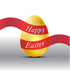 happy easter golden egg with red ribbon vector image