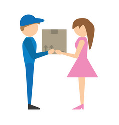 Delivery man handing box girl vector