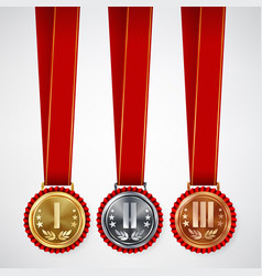 Gold silver bronze place badge medal set vector