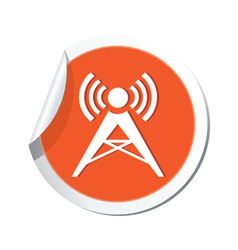 Wireless icon orange sticker vector