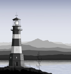 Lighthouse against a mountain range vector image
