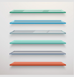 Glass shelves set vector