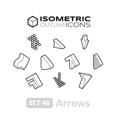 Isometric outline icons set 48 vector