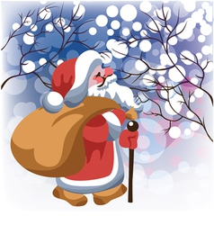 Santa claus with gifts in winter forest vector