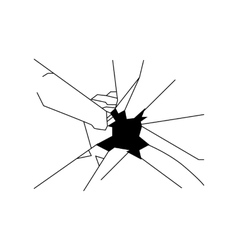 Broken glass silhouette vector