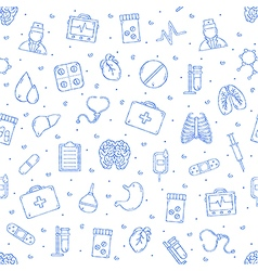 Hospital pattern blue icons vector image