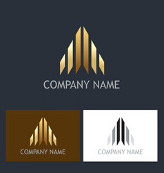 arrow gold business logo vector image