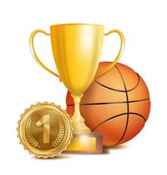 basketball achievement award sport banner vector image vector image