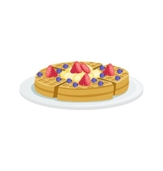 Belgium waffle european cuisine food menu item vector