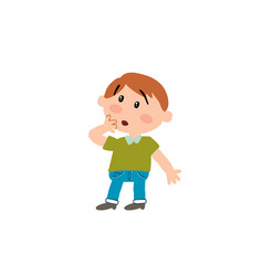 cartoon character boy in surprise vector image