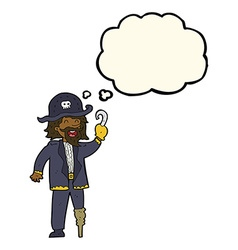 Cartoon pirate captain with thought bubble vector