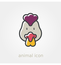 Chicken flat icon Animal head vector image vector image