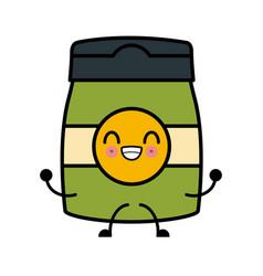Coffee ground jar kawaii cartoon vector