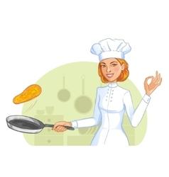 Cute cook girl tosses pancake in frying pan eps10 vector image