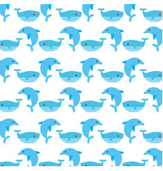 Cute whaleand dolphin pattern vector