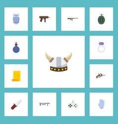 Flat icons handgun jewelry viking helmet vector