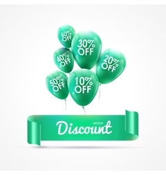 Flying colored balloons with ribbon and discount vector image vector image