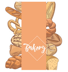 Fresh bread hand drawn bakery design vector