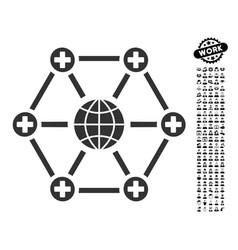 Global medical network icon with job bonus vector