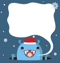 Holiday card with cute monster vector image vector image