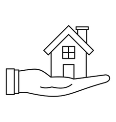 House in hand icon outline style vector