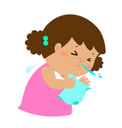 little girl sneezing cartoon vector image vector image