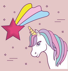 Magical unicorns design vector