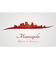Minneapolis skyline in red vector