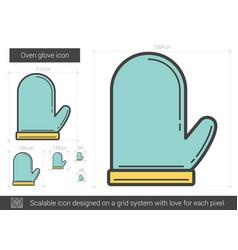 Oven glove line icon vector