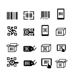 QR code and Bar code icons set Scan coding vector image vector image