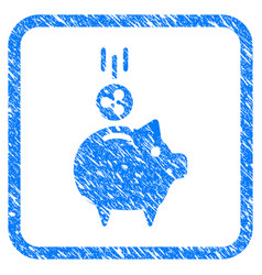 Ripple piggy bank framed stamp vector