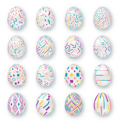 Set of ornate realistic eggs on white background vector