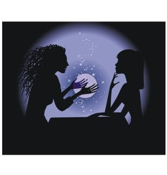 silhouette fortune-teller vector image vector image