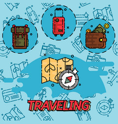 Traveling flat concept icons vector