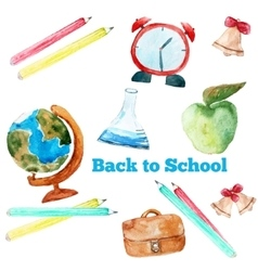 watercolor back to school poster with vector image vector image
