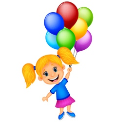 Young girl cartoon flying with balloon vector