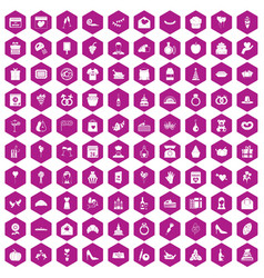 100 cake icons hexagon violet vector