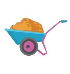 Wheelbarrow full of sand vector