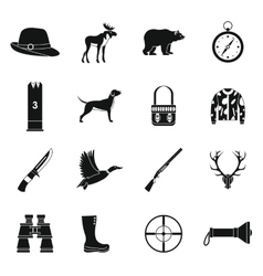 Hunting icons set  simple style vector