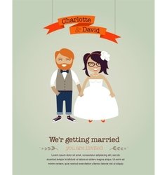 Hipster wedding invitation card vector