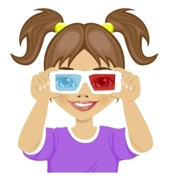 Cute little girl trying on 3d glasses vector