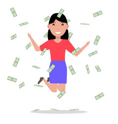 Cartoon woman jumping joy falling money vector