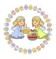 greeting card with angel basket cake and vector image